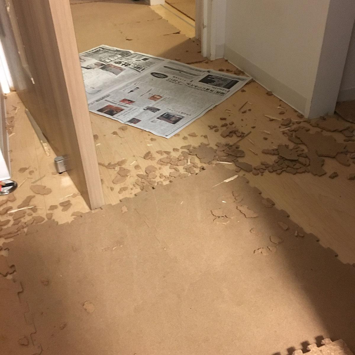 散乱する床用コルク